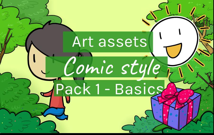 Art Assets Comic Style Pack 1 - Basics - Header image