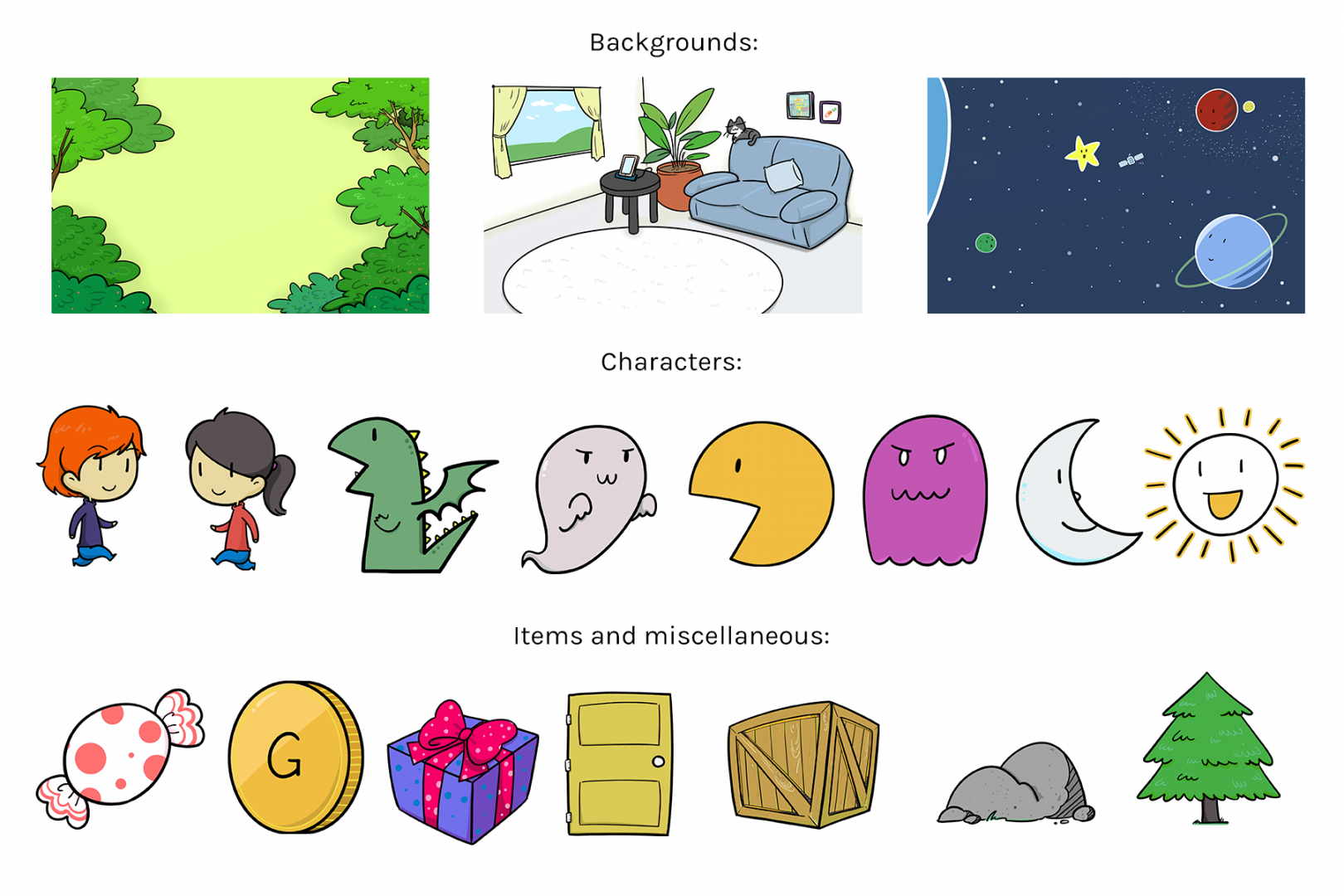 Preview of the comics style asset pack contents. Three backgrounds (forest, living room and space), 8 characters (two humans, dragon, ghost, pac-man, ghost, moon and sun) and seven miscellaneous items (candy, coin, gift, door, crate rock and tree).