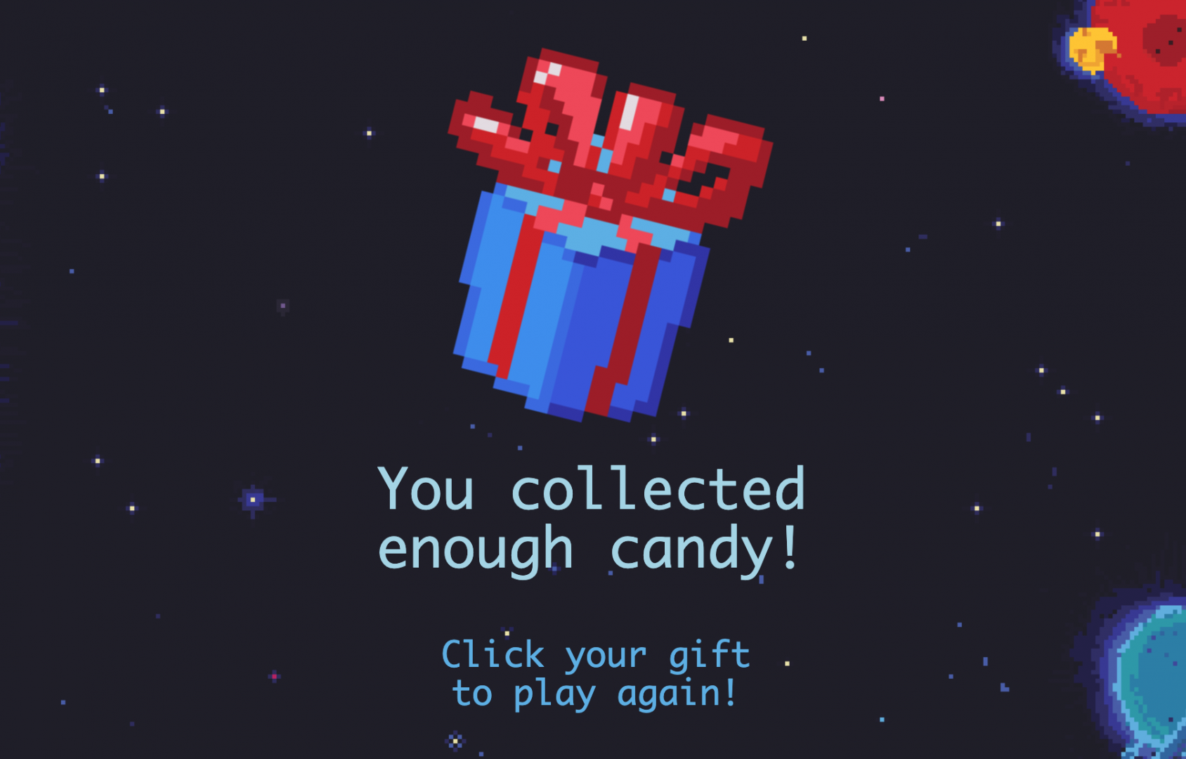 Screenshot 2 of Space Candy playable concept.
