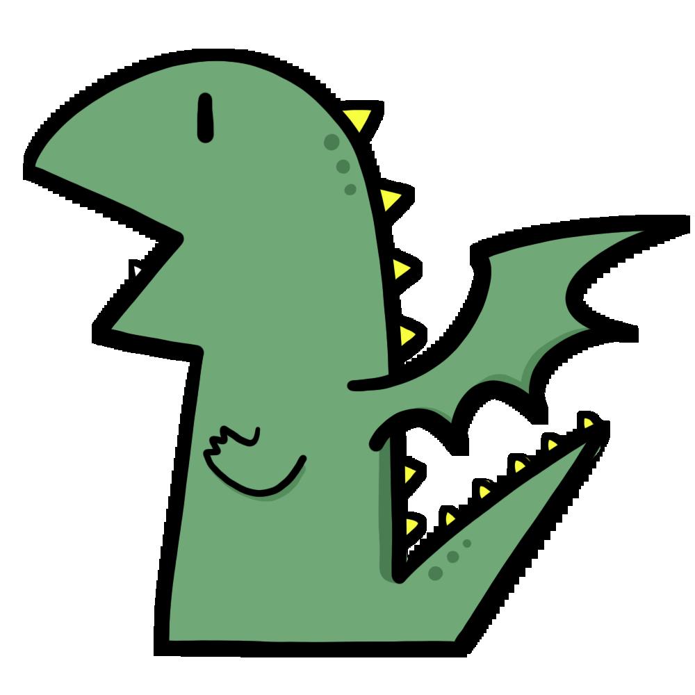 Cartoon illustration of dragon.