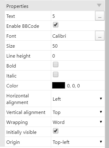 Screenshot of text attributes in the properties panel.