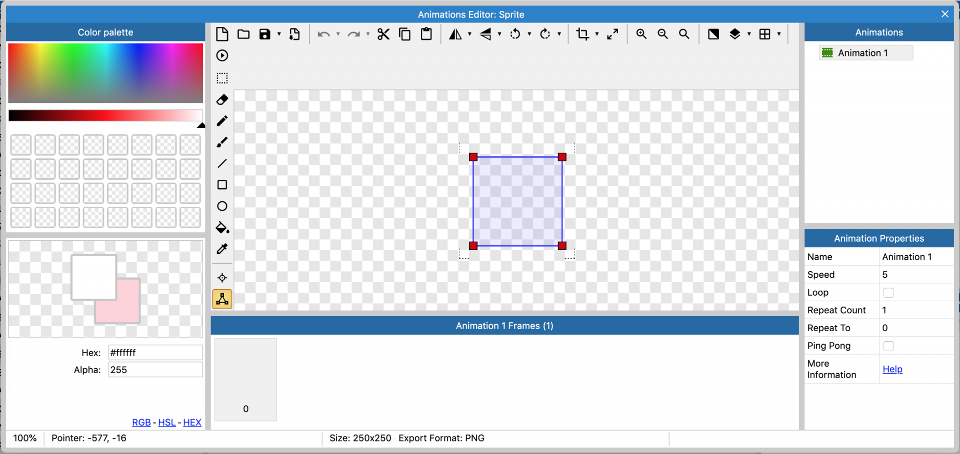 Screenshot of the Construct 3 Animations Editor.