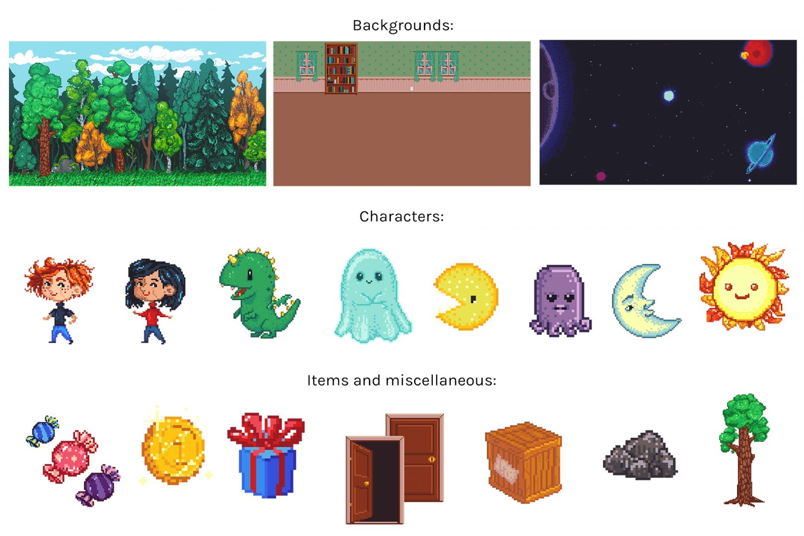 Preview of the pixel art asset pack. Includes three backgrounds, 8 characters, and 8 game items and miscellaneous props.