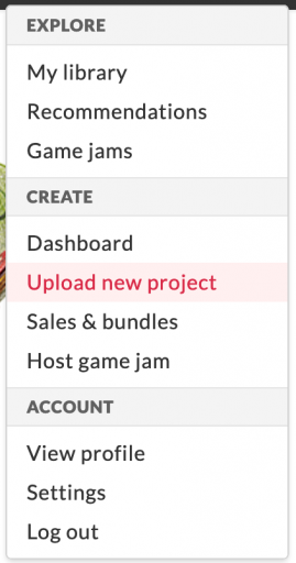 Screenshot: Upload new project on itch.io.