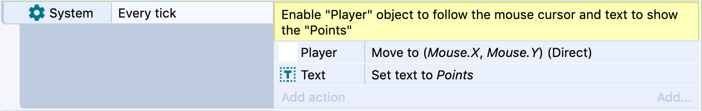 Screenshot of a Construct 3 event with yellow code comment explanation.