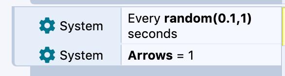 Screenshot: System> Every random(0.1, 1) seconds. System - Arrows = 1.