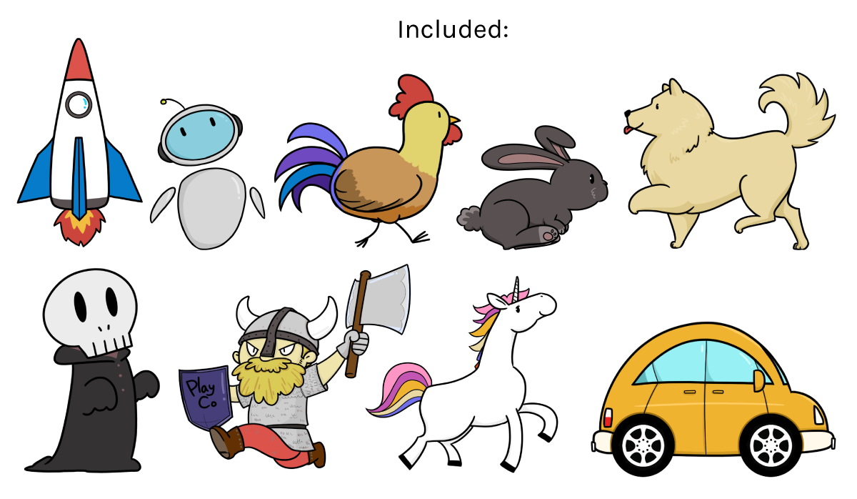 Preview image of included characters.